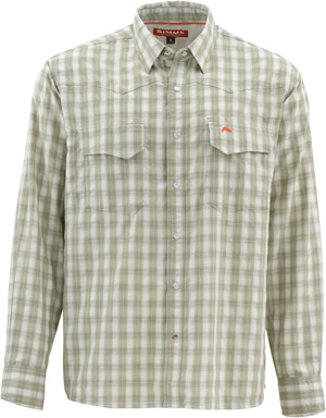 <font color=red>On Sale - Clearance</font><br>Simms Big Sky LS Shirt - Dark Khaki Plaid