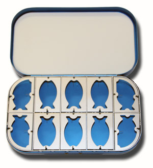 Aluminum Fly Box - 10 Compartment - Blue