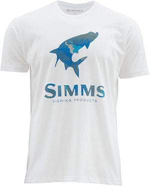 <font color=red>On Sale - Clearance</font><br>Simms Hex Camo Tarpon Logo SS T - White