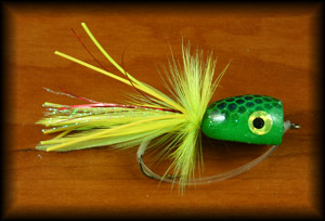 Bass Popper - Chartreuse Frog