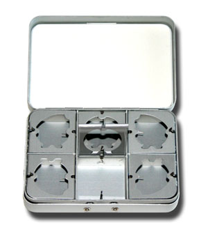 Small Aluminum Fly Box - 6 Compartment
