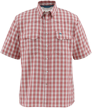 <font color=red>On Sale - Clearance</font><br>Simms Big Sky SS Shirt - Brick Plaid