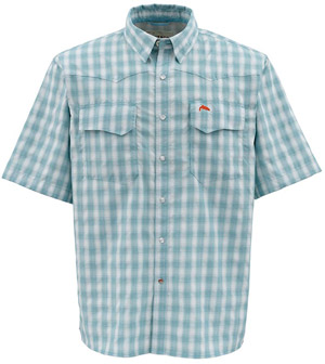 <font color=red>On Sale - Clearance</font><br>Simms Big Sky SS Shirt - Teal Plaid