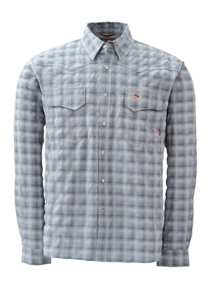 <font color=red>On Sale - Clearance</font><br>Simms Big Sky Shirt - Long Sleeve - Smoke Blue Plaid