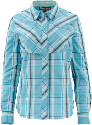 <font color=red>On Sale - Clearance</font><br>Simms Women's Big Sky LS Shirt - Teal Plaid
