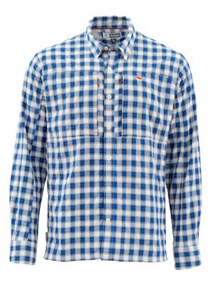 <font color=red>On Sale - Clearance</font><br>Simms Bugstopper LS Shirt Plaid - Admiral Blue Plaid
