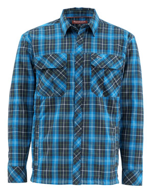 <font color=red>On Sale - Clearance</font><br>Simms Guide Insulated Shacket - Admiral Blue Plaid