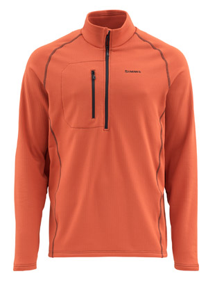 <font color=red>On Sale - Clearance</font><br>Simms Fleece Midlayer Top - Simms Orange
