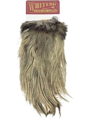 WHITING Spey SADDLE SILVER Grade GRIZZLY dyed TAN