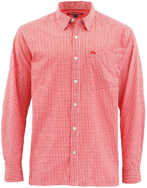 <font color=red>On Sale - Clearance</font><br>Simms Westshore LS Shirt - Dusty Orange Plaid